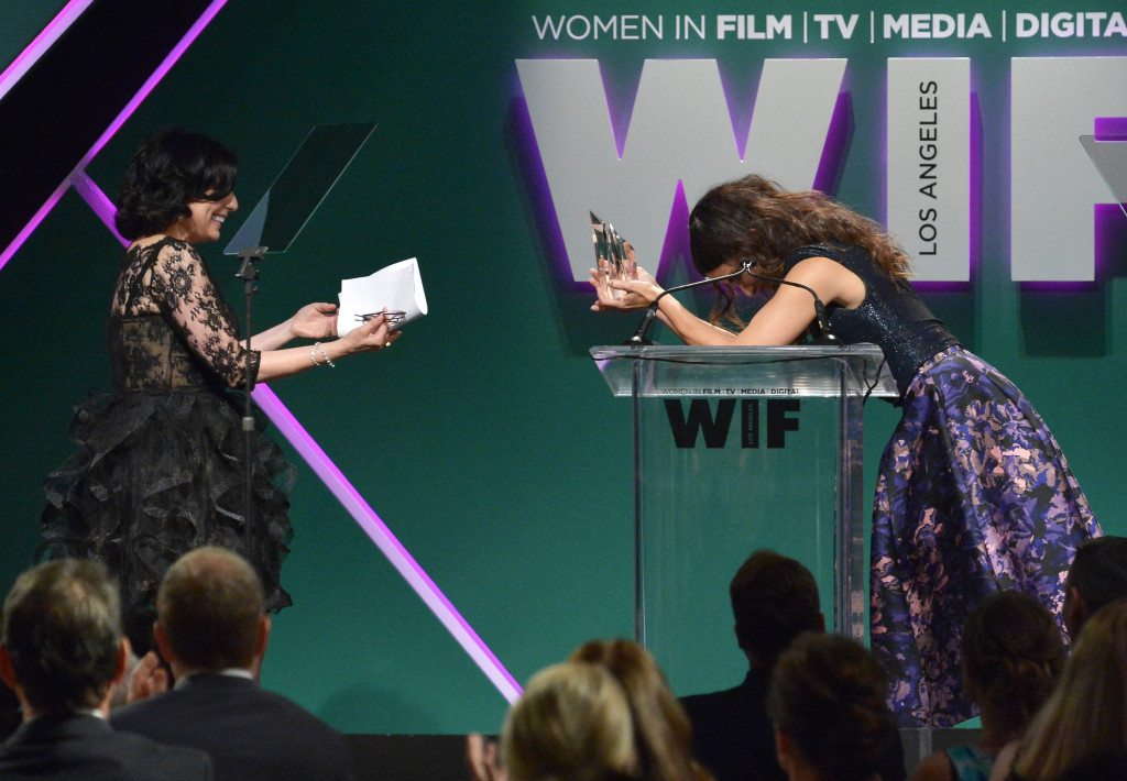CENTURY CITY, CA - JUNE 16:  Honoree Sue Kroll (L) accepts The Tiffany & Co. / Bruce Paltrow Mentorship Award from actress Sandra Bullock onstage during the Women In Film 2015 Crystal + Lucy Awards Presented by Max Mara, BMW of North America, and Tiffany & Co. at the Hyatt Regency Century Plaza on June 16, 2015 in Century City, California.  (Photo by Charley Gallay/Getty Images for Women In Film)